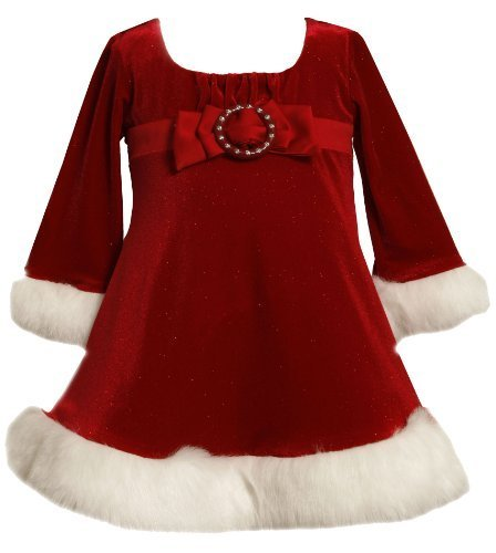 Red Buckle Bow Front Glitter Velvet Santa Dress RD1HB Bonnie Jean Baby-Infant...