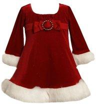 Red Buckle Bow Front Glitter Velvet Santa Dress RD1HB Bonnie Jean Baby-Infant...