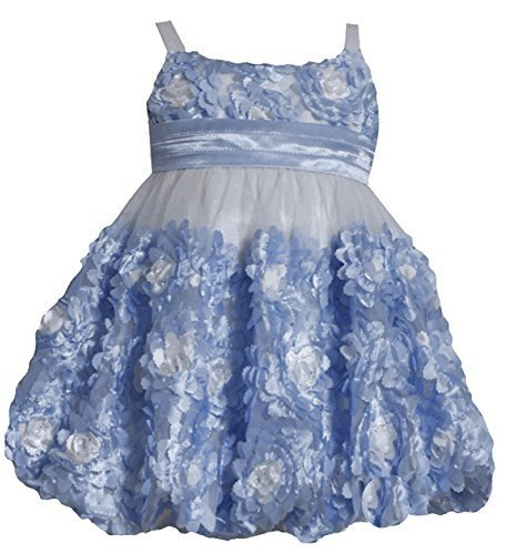 Little Girls 2T-6X Periwinkle-Blue Ivory Die Cut Bonaz Rosette Bubble Mesh Dr...