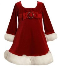 Bonnie Jean Girls Red Buckle Bow Front Glitter Velvet Santa Dress, 4, Red
