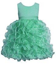 Little Girls Mint-Green Shimmer Knit to Cascade Organza Dress, MN2HA, Mint, B...