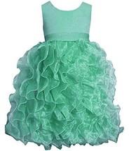 Big Girls Tween 7-16 Mint-Green Shimmer Knit to Cascade Organza Dress