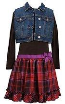 Little Girls 4-6X Rib Knit to Plaid Drop Waist Dress/Vest Set, BR3BU, Brown, ...