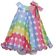 Baby Girls Infant 12M-24M Rainbow Dot Crystal Pleat Trapeze Dress