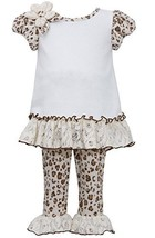 Little Girls Brown/Ivory Leopard Print Fuzzy Knit Cap Sleeve Dress/Legging Se...