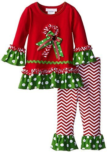 Bonnie Jean Baby-Girls Infant 12M-24M Bell Sleeve Candy Cane Dress/Legging Se...