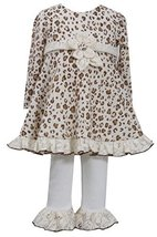 Baby Girls Newborn Brown/Ivory Leopard Print Fuzzy Knit Dress/Legging Set, BO...