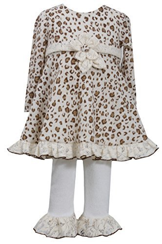 Bonnie Jean Girls Leopard Brush Knit Dress Legging Outfit, Orange, 6-9M