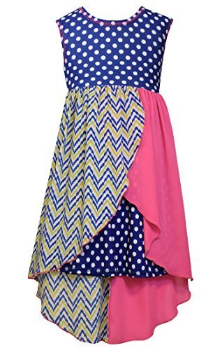 Big Girls Tween Royal-Blue Dots Stripes Solid Chiffon High Low Dress, Bonnie ...
