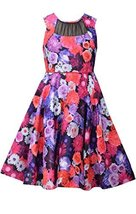 Big Girls Tween Fuchsia Illusion Neckline Bold Floral Shantung Fit Flare Dres...
