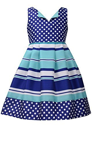 Little Girls 4-6X Blue/White/Green Dots Stripes Shantung Fit Flare Dress, Bon...