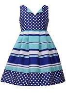 Little Girls 4-6X Blue/White/Green Dots Stripes Shantung Fit Flare Dress, Bon...