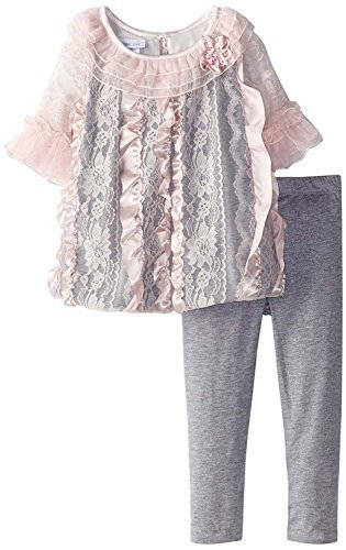 Baby Girls Pink Grey Lace and Ribbon Bubble Dress/Legging Set, X1-BBNI-HOL15,...
