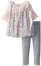 Bonnie Jean Little Girls' Satin Tiered Lace Bubble Legging Set, Pink, 3T image 1