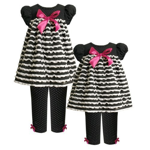 Size-18M BNJ-4089B 2-Piece BLACK WHITE PIN DOT BOW FRONT RUFFLE KNIT Dress an...