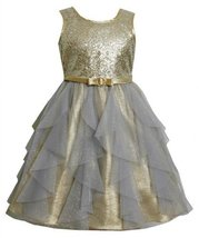 Gold Sequin and Glitter Vertical Cascade Mesh Lame Dress GD3BU Bonnie Jean Li... image 2