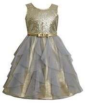 Gold Sequin and Glitter Vertical Cascade Mesh Lame Dress GD3SA Bonnie Jean Li...