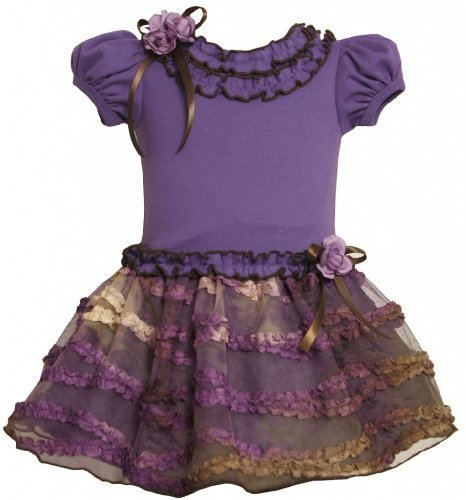 Purple Knit to Ruched Ribbon Ombre Mesh Skirt Dress PU1TW,Bonnie Jean Baby-In...