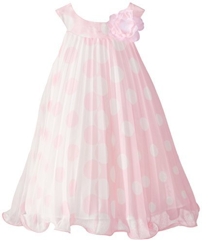 Bonnie Jean Little Girls' Chiffon Dot Crystal Pleat Dress, Pink, 5 [Apparel] ...