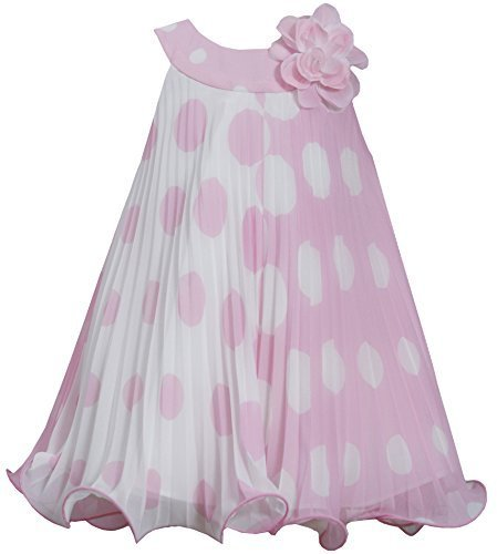 Little-Girls 2T-6X Pink White Polka Dot Colorblock Crystal Pleat Trapeze Dres...