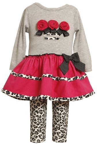Bonnie Jean Little Girls' Leopard Trims Knit Legging Set, Grey, 2T [Apparel] ...