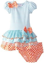 Bonnie Baby Baby Girls' Stripe To Multi Tiered Dress, Turquoise, 18 Months Bo...