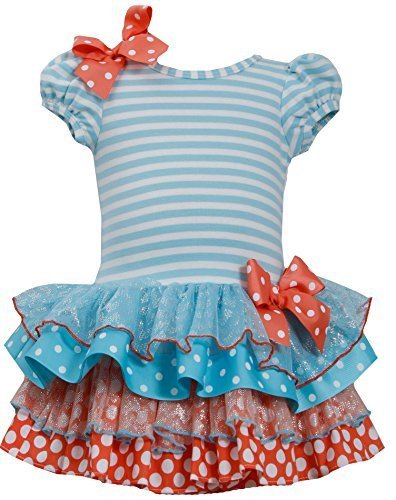 Baby Girls Infant 12M-24M Stripe Knit to Mix Print Drop Waist Dress, TQ1HB, T...