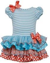 Baby Girls Infant 12M-24M Stripe Knit to Mix Print Drop Waist Dress, TQ1HB, T...