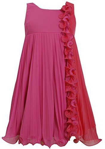 Big-Girls Tween 7-16 Fuchsia Pink Colorblock Wire Ruffle Pleated Chiffon Dres...