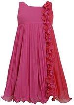 Big-Girls Tween 7-16 Fuchsia Pink Colorblock Wire Ruffle Pleated Chiffon Dres...