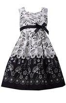 Little Girls 4-6X Black/White Floral Toile Border Print Cotton Dress, Bonnie ...