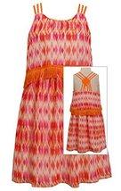 Big-Girls TWEEN 7-16 Orange Popover Fringe Tassle Diamond Print Chiffon Dress...