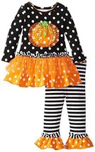 Bonnie Baby-Girls Infant Ruffle Pumpkin Legging Set, SABW0, Black/White image 1