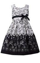 Big Girls Tween 7-16 Black/White Floral Toile Border Print Cotton Dress, Bonn...