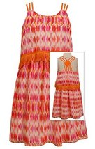 Big-Girls TWEEN 7-16 Orange Popover Fringe Tassle Diamond Print Chiffon Dress...