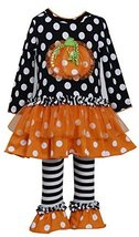 Bonnie Baby-Girls Infant Ruffle Pumpkin Legging Set, CHBW0, Black/White image 2