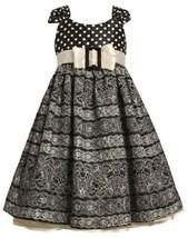 Dots to Floral Scroll Print Buckle Bow Shantung Dress BW3FV,Bonnie Jean Littl...