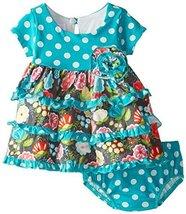 Baby Girls Infant Aqua Dots and Floral Tiers Knit Dress (24 Months, Aqua)