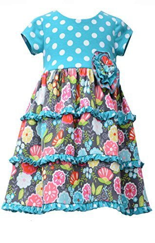 Little Girls 2T-4T Aqua-Blue/Multi Dots And Floral Tier Knit Dress, Bonnie Je...