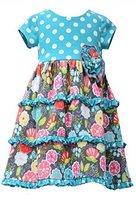 Little Girls 2T-4T Aqua-Blue/Multi Dots And Floral Tier Knit Dress, Bonnie Je...