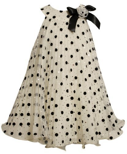 Bonnie Jean Little Girls' Crystal Pleat Dress with Wire Hem, Ivory, 5 [Apparel]