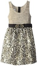 Bonnie Jean Big Girls 7-16 Shimmer Knit to Beaded Waist Metallic Brocade Dres...