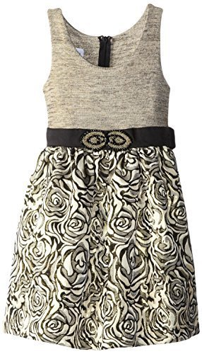 Bonnie Jean Big Girls 7-16 Shimmer Knit to Beaded Waist Metallic Brocade Dres...