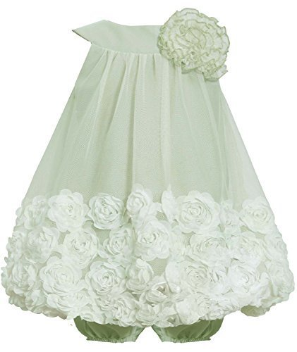 Bonnie Jean Baby-Girls INFANT Sage-Green Yoke Neckline Bonaz Rosette Bubble D...