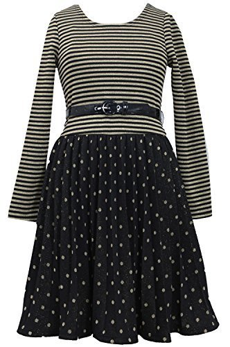 Big Girls 7-16 Gold/Black Belted Metallic Dots Stripes Pleated Dress, GD4BA, ...