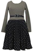 Big Girls 7-16 Gold/Black Belted Metallic Dots Stripes Pleated Dress, GD4BA, ...