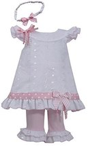 Bonnie Jean Girls Eyelet Spring Dress, Headband & Legging Outfit, 3-6M [Apparel]