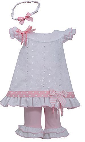Baby-Girls Infant White Pink Embroidered Eyelelet Dress/Legging Set, Pink, 12...