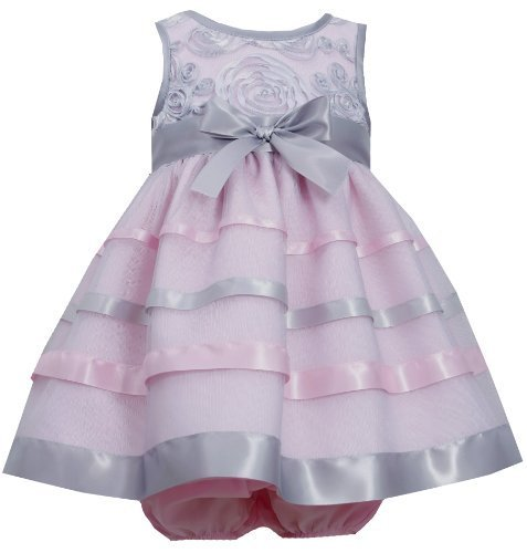 Pink Silver Soutache and Ribbon Mesh Overlay Dress PK0SA Bonnie Jean Baby-New...
