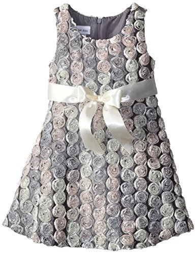 Bonnie Jean Little Girls' Satin Swiral Bonaz Dress, Silver, 6X [Apparel] Bonn...